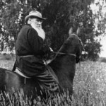 B9P7E7 Writer Leo Tolstoy riding a horse